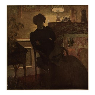 """1948 After Édouard Vuillard """"Lady Seated in Front of a Lamp"""" Vintage Parisian Offset Lithograph For Sale"""