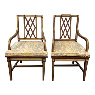 1900s Empire Wood + Caned Side Chairs - a Pair