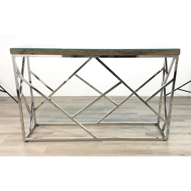 Metal Industrial Modern Reclaimed Teak Wood and Stainless Steel Console Table For Sale - Image 7 of 7