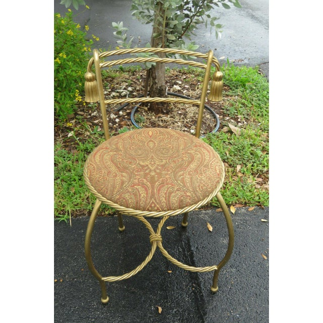 1970s Vintage Hollywood Regency Painted Gold Iron Vanity Stool For Sale - Image 10 of 11