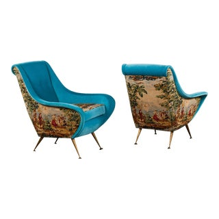 An Elegant Pair of Vintage Italian Armchairs in Toile and Velvet For Sale