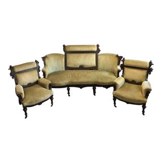 Mid 19th Century Victorian Parlor Set- 3 Pieces For Sale