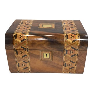 19th Century Walnut Tunbridge Box With Wide-Band Mosaic Inlay For Sale