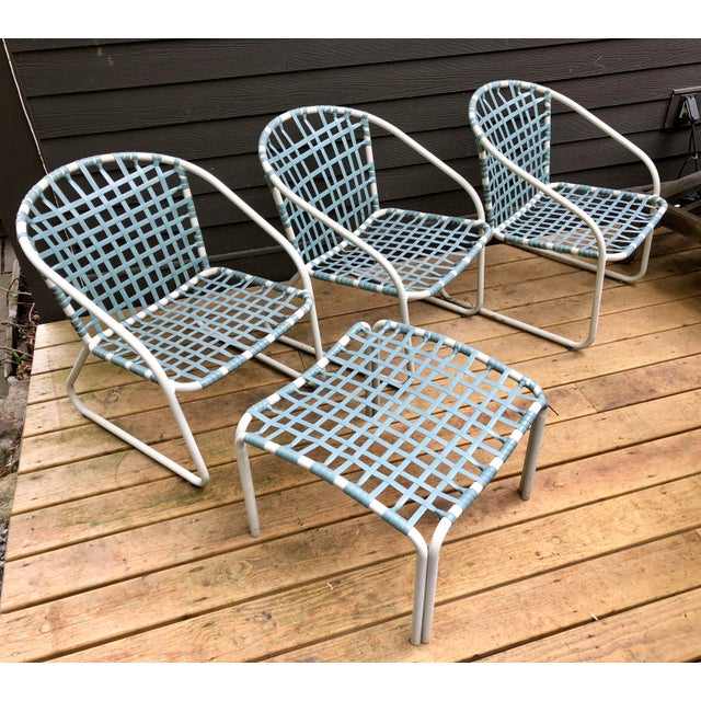Aluminum Mid Century Modern Brown Jordan Lido Patio Set Of Chairs Ottoman
