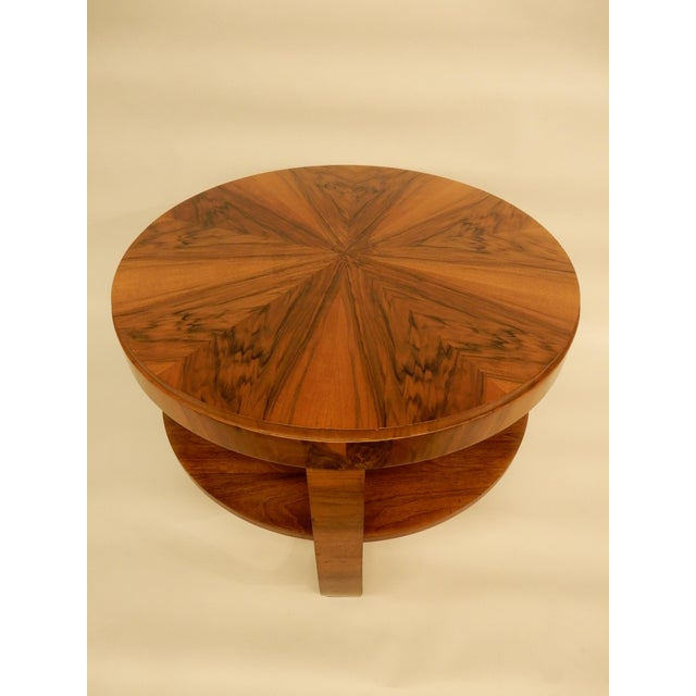 1930's French Art Deco round side table with shelf.