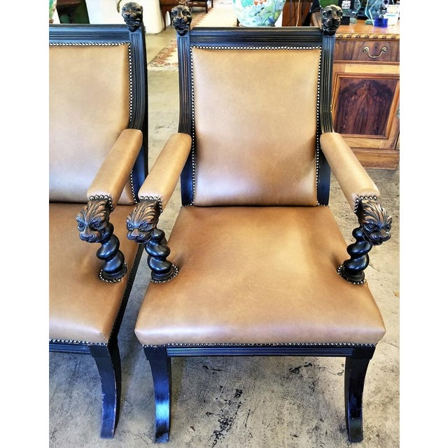 British Dark Walnut Library Chairs With Lions Heads - a Pair For Sale - Image 9 of 11