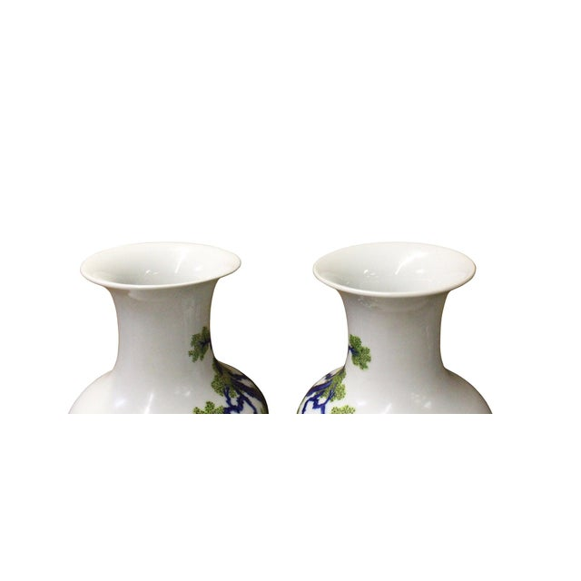 Pair Chinese Oriental Ceramic Porcelain White Color People Graphic Vases For Sale - Image 4 of 8