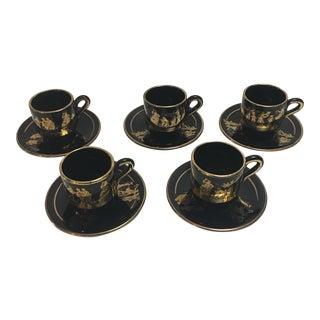 24k Greek Demitasse Cups & Saucers - Set of 10 For Sale
