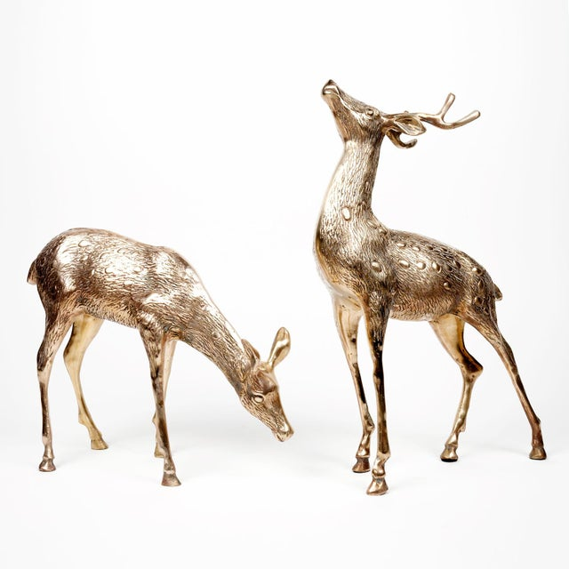 Vintage Brass Deer Figures - A Pair - Image 4 of 10
