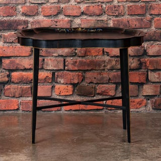 19th Century Folk Art Swedish Small Black Painted Tray Table Preview