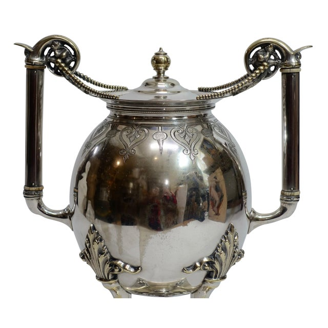 Silver Plated Aesthetic Movement Hot Water Urn Samovar 19th Century For Sale In San Francisco - Image 6 of 9