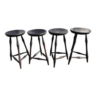 Antique Reproduction Windsor Stools- Set of 4 For Sale