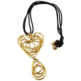Balenciaga Paris Long Pendant Necklace Gilt Metal Wired Spiral Design For Sale