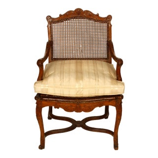 Regence Style Caned Fauteuil with Cushion For Sale
