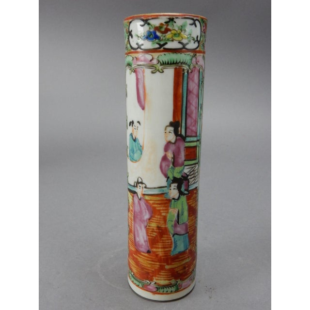 Antique Chinese Export Rose Medallion Cylinder Vase - Image 8 of 11