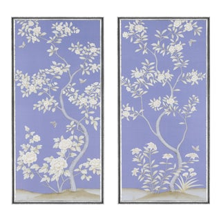 """Jardins en Fleur """"Inverness"""" Chinoiserie Hand-Painted Silk Diptych by Simon Paul Scott in Italian Silver Frame - a Pair For Sale"""