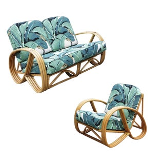3/4 Round Pretzel Restored Rattan Lounge Chair & Sofa W/ Beverly Palms Cushions For Sale