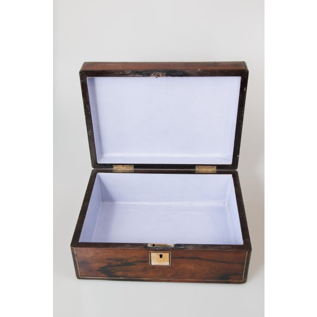 Late 19th Century 19th-Century English Rosewood Box, Lock & Key For Sale - Image 5 of 10