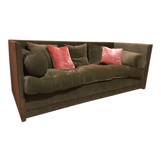 John Saladino Green Velvet Sofa For Sale