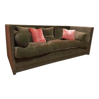 John Saladino Green Velvet Sofa For Sale