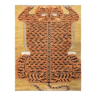 Handknotted Regal Geometric Tiger Rug, Wheat Gold, 10'x16'