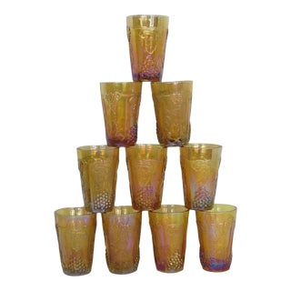 Vintage Indiana Harvest Grape Style Amber Carnival Glass Small Tumblers - Set of 10 For Sale
