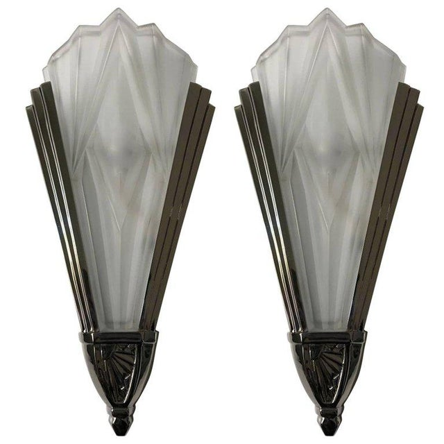 Beautiful French Art Deco Wall Sconces Signed by Degue - A Pair For Sale - Image 10 of 10