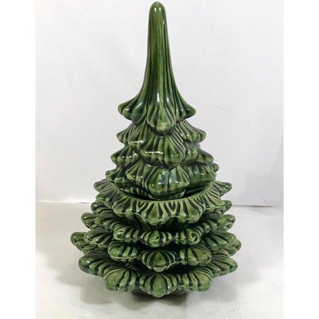 Mid 20th Century Vintage Ceramic Christmas Tree Smoking Set For Sale - Image 5 of 11