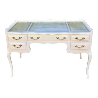 Hollywood Regency, French Louis XV Style White Lacquered Writing Desk For Sale