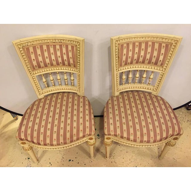 Maison Jansen Pair of Paint Decorated Jansen Style Side Chairs For Sale - Image 4 of 10