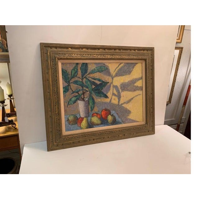 Mid-Century Modern Mid-Century Modernist Still Life Oil on Canvas Painting For Sale - Image 3 of 10