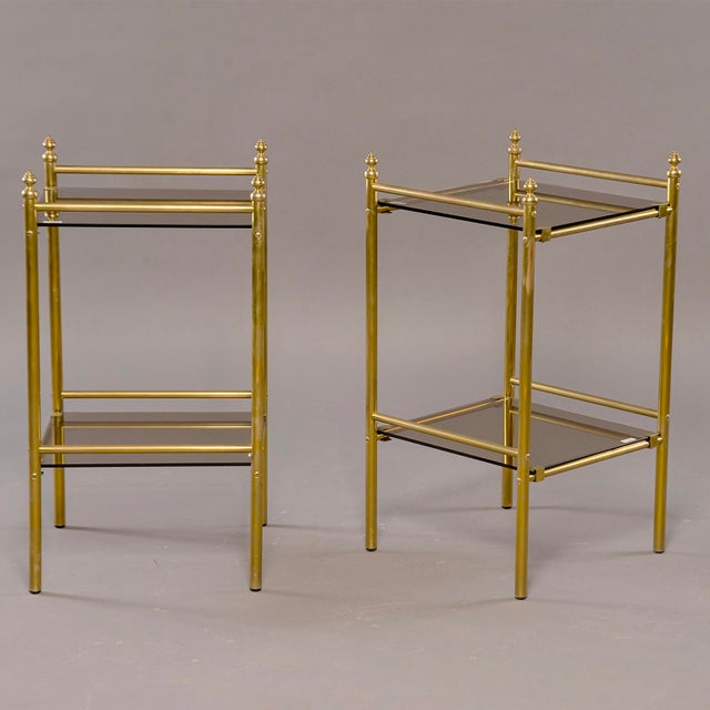 Pair of Mid-Century Brass and Glass Side Tables For Sale In Detroit - Image 6 of 10
