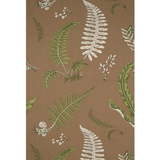 Sample, Scalamandre Elsie De Wolfe - Outdoor, Greens on Brown Fabric For Sale