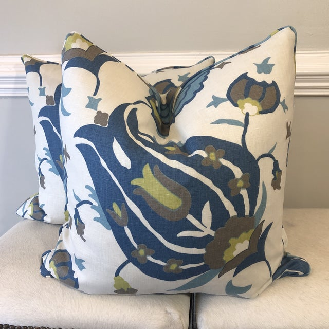 "White Groundwork's ""Turkish Flower"" Teal/Aqua 22"" Pillows-A Pair For Sale - Image 8 of 8"