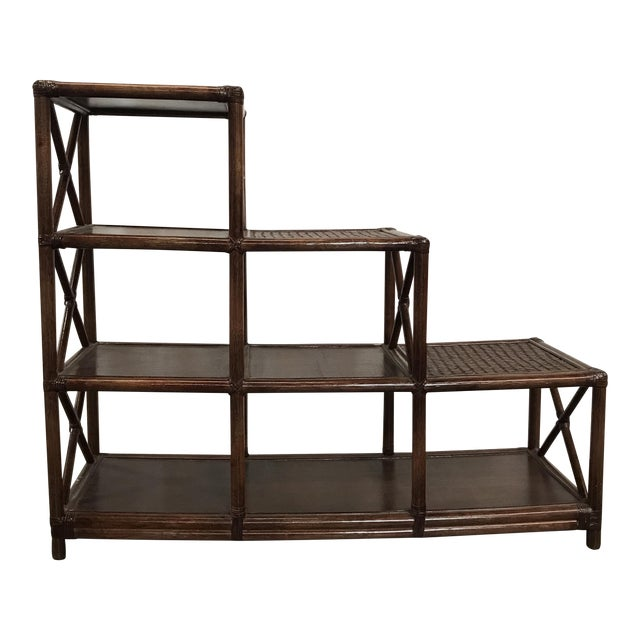 Rattan Stairstep Shelf For Sale