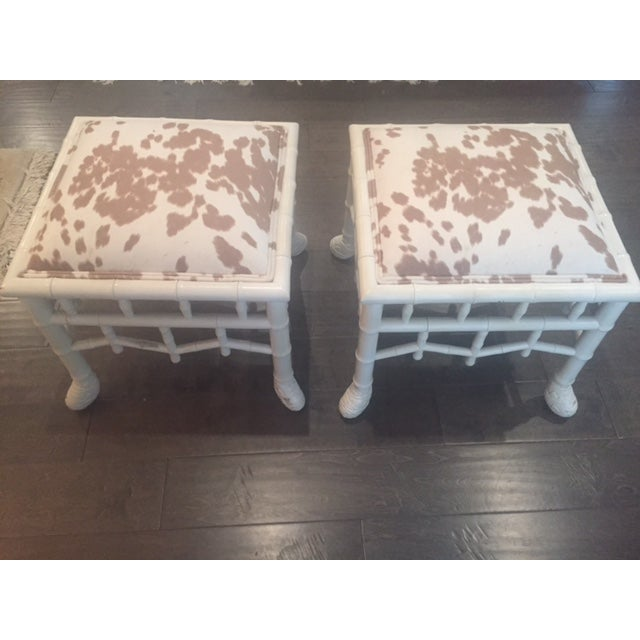 Chinoiserie Chic Hollywood Regency Stools - Pair - Image 2 of 11