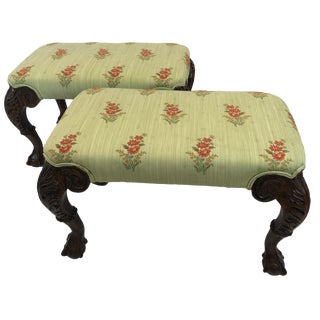 Pair of Beautifully Carved and Upholstered Benches For Sale