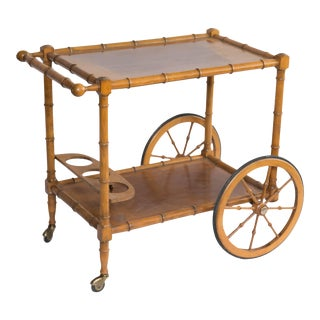 Faux Bamboo Bar Cart For Sale