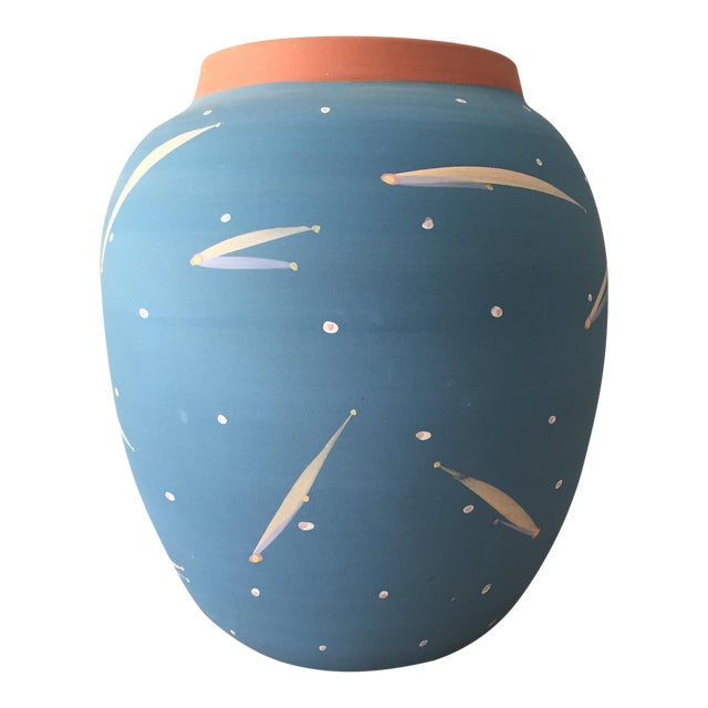 Blue Terra Cotta Decorative Vase - Image 1 of 6