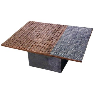 Modern Copper and Stainless Coated Terracotta Table For Sale