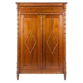 1900s French Colonial Faux Bamboo Armoire For Sale