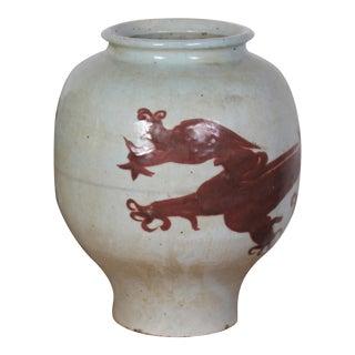 Antique Sarreid LTD Hand-Painted Dragon Vase