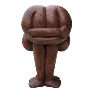 Vintage Signed Carved Wood Humans Bending Over Sculpture For Sale