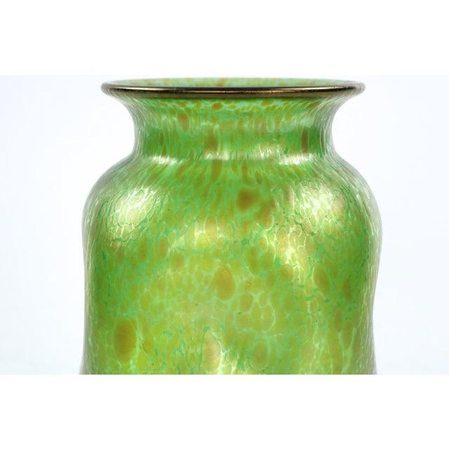 Art Nouveau Antique Green Iridescent Glass Vase Early 20th Century