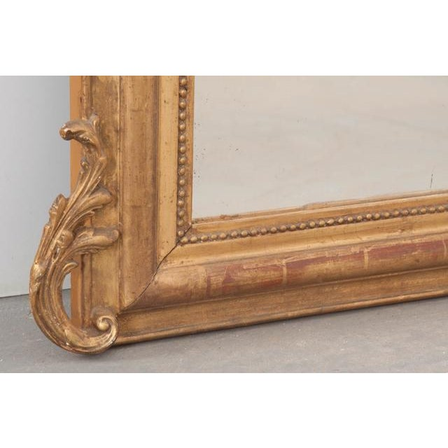 Gold French 19th Century Ornately Carved Giltwood Over-Mantle Mirror For Sale - Image 8 of 13