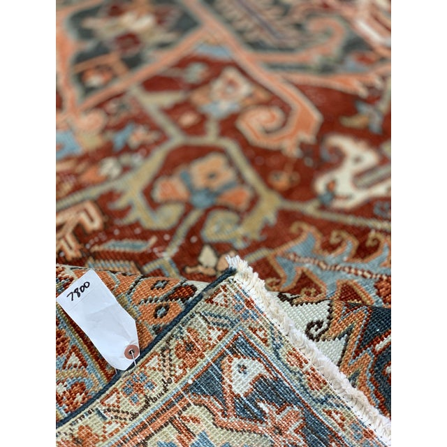 Islamic 1920s Vintage Persian Heriz Area Rug - 9′5″ × 12′4″ For Sale - Image 3 of 13