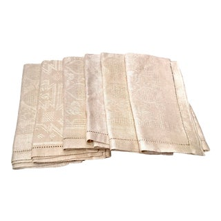 Vintage Mid Century Damask Dinner Napkins - Set of 6 For Sale