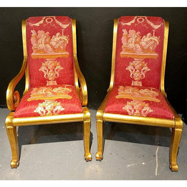 Red Ten Neoclassical Dining Chairs in Fine Versace Style Fabric For Sale - Image 8 of 12