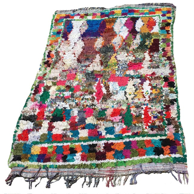 """Boho Chic Moroccan Boucherouite Rug - 4'7"""" x 6'7"""" For Sale - Image 3 of 3"""