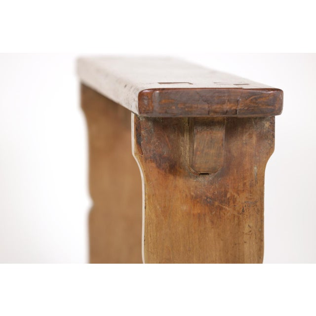 1880s English Narrow Fruitwood Bench For Sale - Image 9 of 13